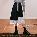 regular Half-body fashion black white Skirt