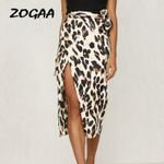 Fashion Sexy High Waisted Asymmetric Stretch Leopard Printed Skirt