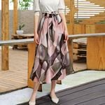 Plain Knee Length Soft Stretch Flared Printed Skirt