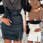 Fashion sexy High waist PU leather Skirts