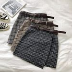 Irregular High Waist Vintage Casual Plaid Skirt