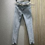 high waist drilling fashion skinny pencil feet ankel length jeans
