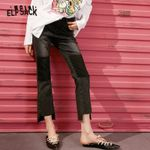 Black Solid High Low Irregular Casual Jeans