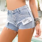 High Waist Stretch Straight Drawstring Short Denim