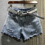 Diamond hole high waist denim shorts