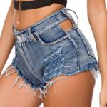 Retro High Waist Crimp Denim Shorts