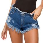 fur edge loose super cotton Short Denim