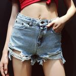 Casual Cool Girl High Waists Mini Short Denim