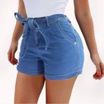 High Waist Cotton Lace-Up Pockets Sexy Denim Shorts