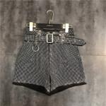 Black Diamond With Belt High Waist Shorts