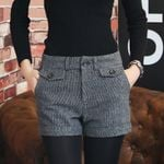 Woolen Zipper Up Pocket Buttons Plaid Shorts