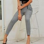 Sexy Black and white high waist plaid slim pants