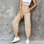 High waist Fashion tooling multi-pocket pants
