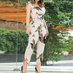 Ruffles Beige Floral Print Ankle Length Jumpsuits