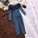Fashion Denim Long Sleeve High Waist Jumpsuit
