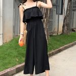 Fashion Sexy Sleeveless Pure Color Wide Leg Loose Jumpsuits