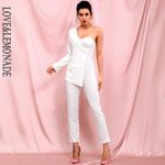 Sexy White Tube Top Two Piece Single Sleeve Jumpsuit