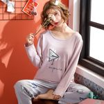Fashion Cotton Long Sleeve Loose Comfort Sleepwear
