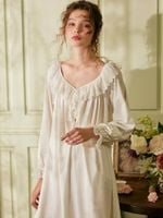 Cotton Long Vintage Royal Princess V-neck Sleepwear