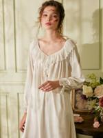 Cotton Long Vintage Royal Princess V-neck Sleepwear