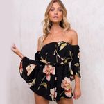 Floral Print Short Chiffon Flare Sleeve Sexy Rompers