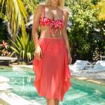 Fashion Floral Print Shoulder Strap Bow Bikini