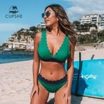 Green and Navy Scalloped Sexy V-neck Bikini