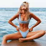 Solid Color Bathing Casual Push Up Low Waist Bikini