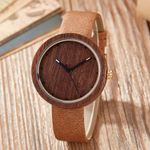 Coffee/Purple Natural Bamboo Wood Watch