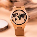 Print Earth map Leather Classic Wood Watch