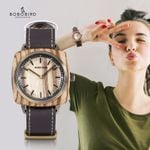 Waterproof Quartz Buckle Round Wood Watch
