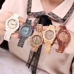 Simple Digital Wood Grain Quartz Watch