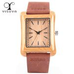 Unique Rectangle Dial Analog Soft Leather Strap Wood Watch