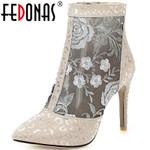Fashion Side Zipper Flowers Pointed Toe Heels