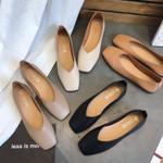 Square Toe Slip on Pu Leather Flat shoes