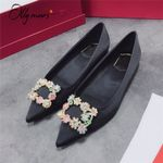 Fashion Style Pointed Toe Slip On Shallow Mouth Flat shoes