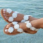 Bohemia Pearl Flower Gladiator Sandals