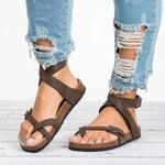 Leather Gladiator Flat Flip Flop Sandals