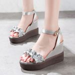 Fashion Platform Peep Toe Mirror Pu Sandals