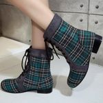 Round Toe Ankle Plaid lattice Grid Pattern Lace Up Boots