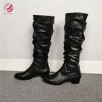 Original Intention New Stylish Pleated Black Knee High Boots