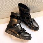 Buckle Leather Luxury Motorcycle Ankle Boots