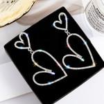 European Crystal Big Double Heart Earrings