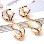 Colorful Rhinestone Big Pearl Drop Earrings