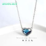 Sterling Silver Crystal Blue Heart Necklaces