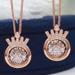 Real Diamond Round Crown Necklaces
