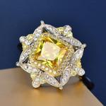 Luxury Retro Silver Square Rings