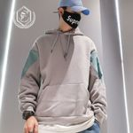 Fashion Loose Fleece Heavyweight Casial Patchwork Hoodie