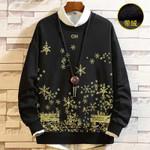 Cotton Velvet o-neck print sweatshirt