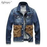 Frayed Slim Multi-pocket Denim Jacket
